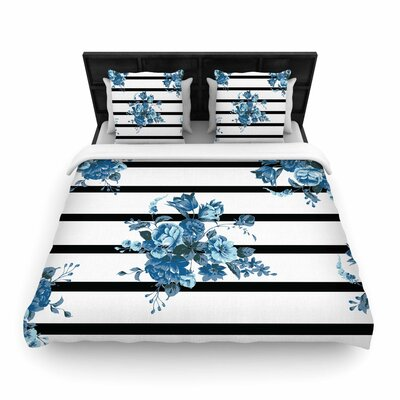NL Designs Floral Strips Woven Duvet Cover Size: King