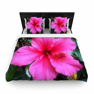 NL Designs Tropical Hibiscus Floral Woven Duvet Cover Size: Twin