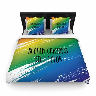 NL designs Broken Crayons Abstract Woven Duvet Cover Size: Twin