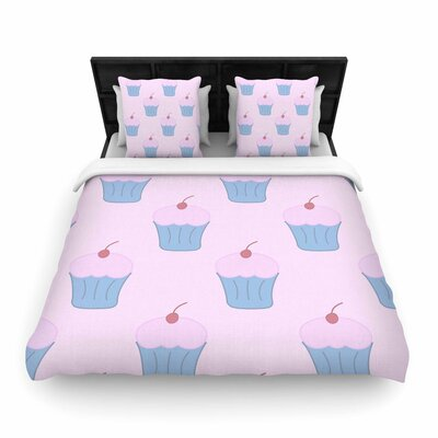NL Designs Cupcakes Blush Woven Duvet Cover Size: King