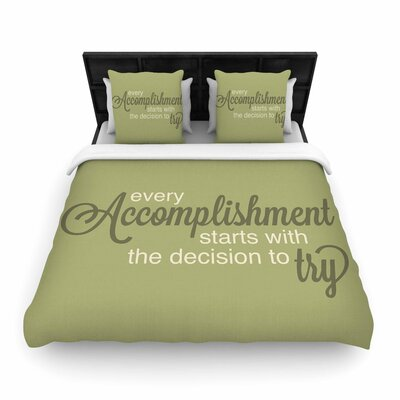 NL designs Accomplishment Typography Woven Duvet Cover Size: King