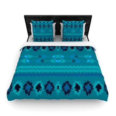 Nina May Nava Tribal Woven Duvet Cover Size: Full/Queen, Color: Turquoise
