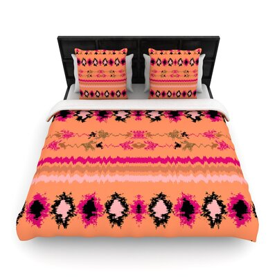 Nina May Nava Tribal Woven Duvet Cover Color: Peachy, Size: Full/Queen
