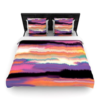Nina May Artika Woven Duvet Cover Size: Twin, Color: Sunset/Orange