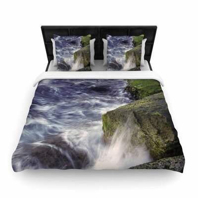 Nick Nareshni Wave Against La Jolla Rocks Ocean Woven Duvet Cover Size: King