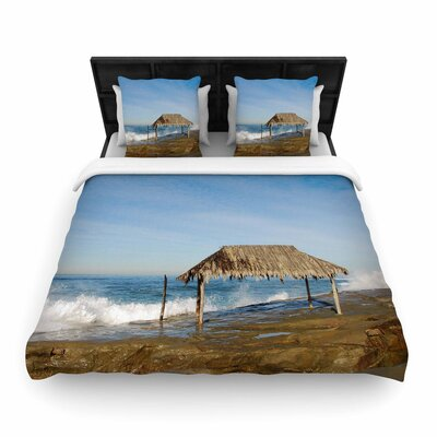 Nick Nareshni Crashing Waves Near Hut Woven Duvet Cover Size: Full/Queen