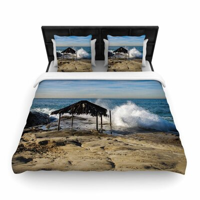 Nick Nareshni Straw Hut on Beach Woven Duvet Cover Size: Full/Queen