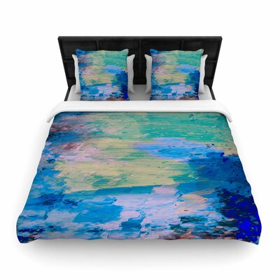 Nina May Mineral Surf Abstract Woven Duvet Cover Size: King