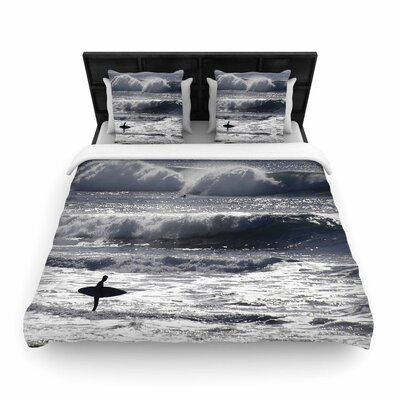 Nick Nareshni Lone Surfer Woven Duvet Cover Size: Full/Queen