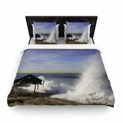 Nick Nareshni Hut with Crashing Wave Woven Duvet Cover Size: Twin