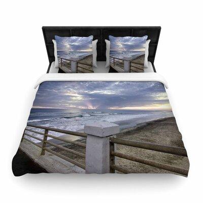 Nick Nareshni Oceanside Pier at Sunset Coastal Photography Woven Duvet Cover Size: King