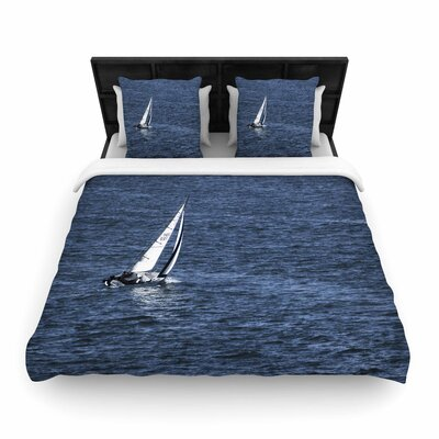 Nick Nareshni Boat on the Ocean Woven Duvet Cover Size: King
