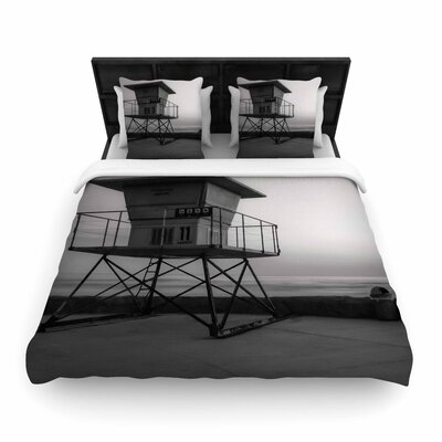 Nick Nareshni Lifeguard Station At Dusk Woven Duvet Cover Size: King