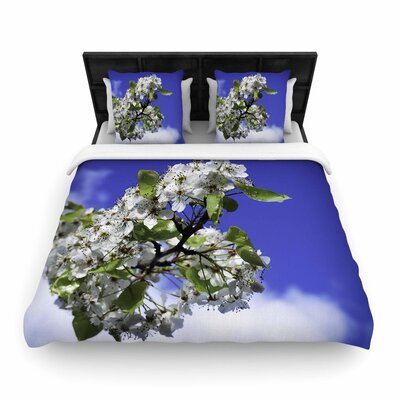 Nick Nareshni Cherry Blossoms and Sky Woven Duvet Cover Size: Full/Queen