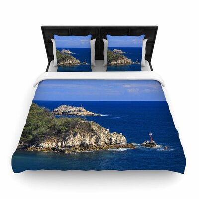 Nick Nareshni Stone Ocean Walls Photography Woven Duvet Cover Size: Full/Queen