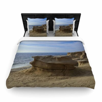 Nick Nareshni Rocks on the Beach Woven Duvet Cover Size: Twin