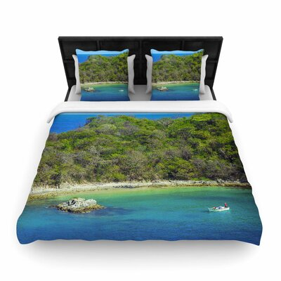 Nick Nareshni the Lonely Fisherman Photography Woven Duvet Cover Size: King