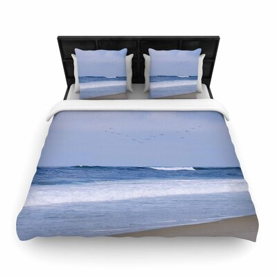 Nick Nareshni Seagulls on the Beach Woven Duvet Cover Size: King