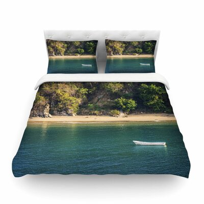 Nick Nareshni Lonely Boat on Coast Photography Featherweight Duvet Cover Size: King