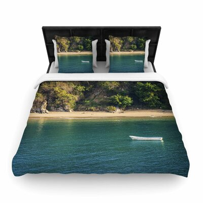 Nick Nareshni Lonely Boat on Coast Photography Woven Duvet Cover Size: Full/Queen