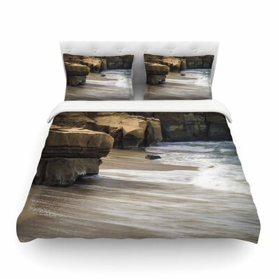 Nick Nareshni La Jolla Cliffside Sandstone Photography Featherweight Duvet Cover Size: King