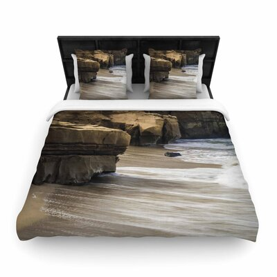 Nick Nareshni La Jolla Cliffside Sandstone Photography Woven Duvet Cover Size: King