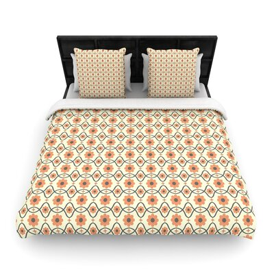 Nandita Singh Floral Pattern Woven Duvet Cover Color: Peach, Size: Full/Queen