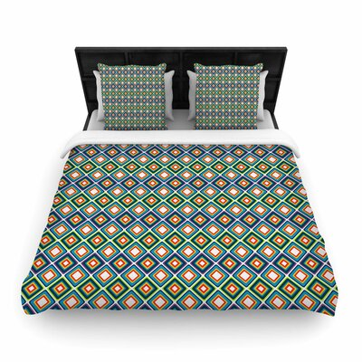 Nandita Singh Bright Squares Pattern Woven Duvet Cover Size: Twin, Color: Blue