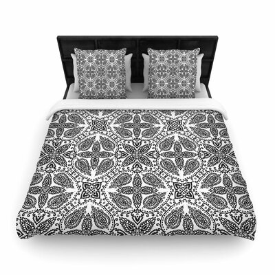 Nandita Singh Boho Abstract Woven Duvet Cover Color: White/Gray, Size: Twin