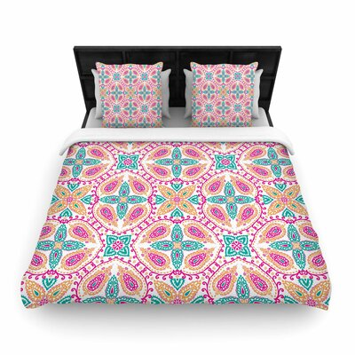 Nandita Singh Boho Abstract Woven Duvet Cover Color: Pink, Size: Full/Queen