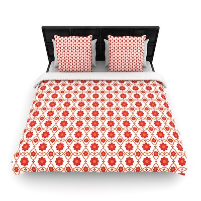 Nandita Singh Floral Pattern Woven Duvet Cover Size: King, Color: Red