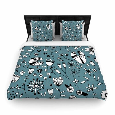 Nic Squirrell Etched Flowers Woven Duvet Cover Size: Twin