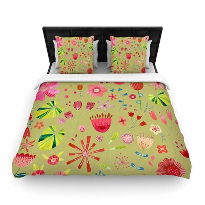 Nic Squirrell Wild Meadow Floral, Digital, Illistration, Woven Duvet Cover Size: King