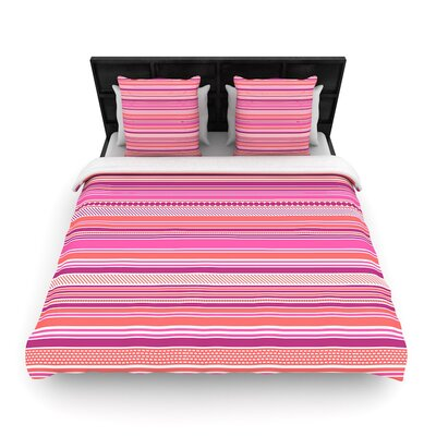 Nandita Singh Ribbons Blush Woven Duvet Cover Size: Twin