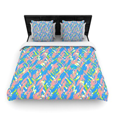 Nandita Singh Abstract Print Woven Duvet Cover Color: Blue, Size: King