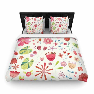 Nic Squirrell Pressed Wildflowers Woven Duvet Cover Size: Full/Queen