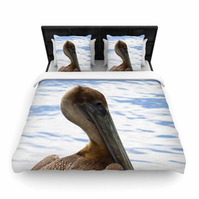 Philip Brown Pelican Waiting Photography Woven Duvet Cover Size: King
