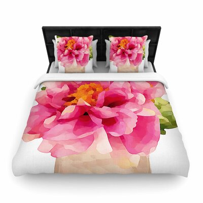 Oriana Cordero Peonies Woven Duvet Cover Size: Twin