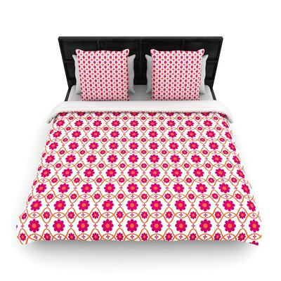 Nandita Singh Floral Pattern Woven Duvet Cover Size: Full/Queen, Color: Pink