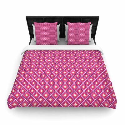 Nandita Singh Bright Squares Pattern Woven Duvet Cover Size: Twin, Color: Pink