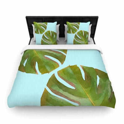 Oriana Cordero Tropico V Woven Duvet Cover Color: Aqua, Size: Full/Queen