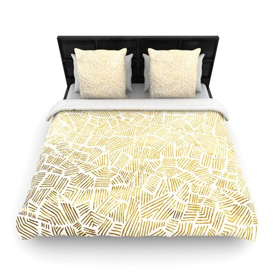 Pom Graphic Design Inca Lines Woven Duvet Cover Color: Yellow/Brown, Size: Twin