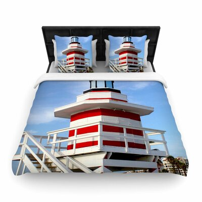 Philip Brown Lighthouse Lifeguard Stand Photography Woven Duvet Cover Size: King