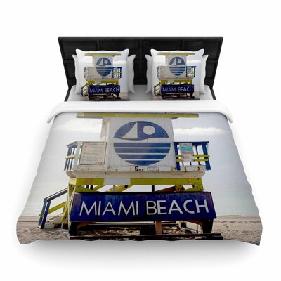 Philip Brown Miami Beach Lifeguard Woven Duvet Cover Size: Twin
