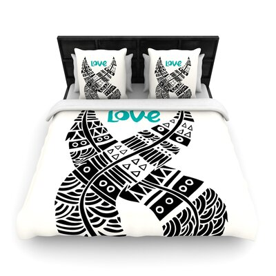 Pom Graphic Design United Love Tribal Woven Duvet Cover Size: Full/Queen