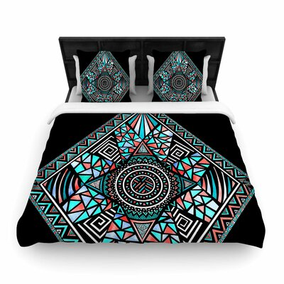 Pom Graphic Design Peacock Feathers Pattern Woven Duvet Cover Size: Full/Queen