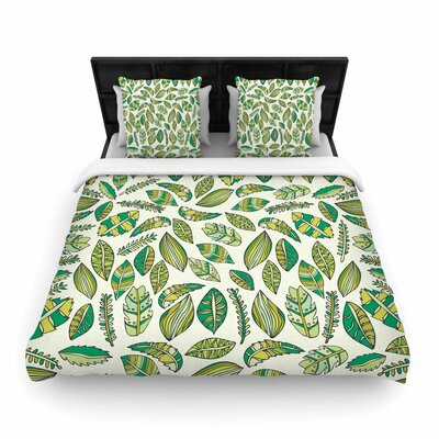 Pom Graphic Design Tropical Boicals Nature Woven Duvet Cover Color: White, Size: Full/Queen