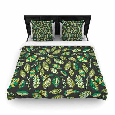 Pom Graphic Design Tropical Boicals Nature Woven Duvet Cover Color: Black, Size: Twin