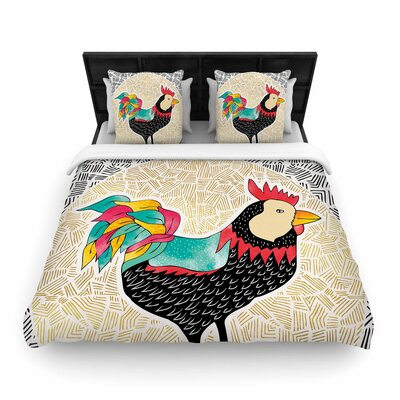 Pom Graphic Design Cuckaroo Rooster Woven Duvet Cover Size: Full/Queen