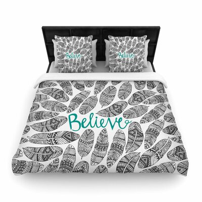 Pom Graphic Design Believe in Yourself Dark Woven Duvet Cover Color: Gray/Teal, Size: Full/Queen